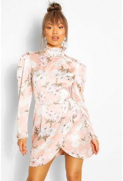 Blush Floral Puff Sleeve Ruffle Collar Mini Dress