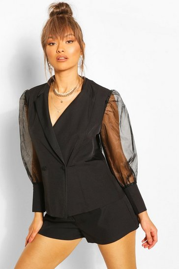 Black Organza Puff Sleeve Tailored Blazer