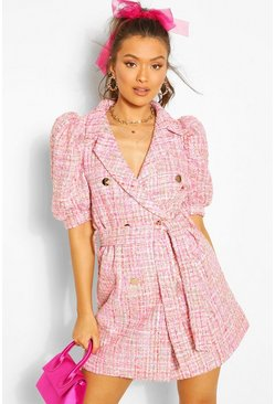 Pink Boucle Tailored Puff Sleeve Blazer Dress