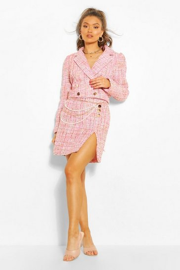 Pink Boucle Button Split Side Mini Skirt