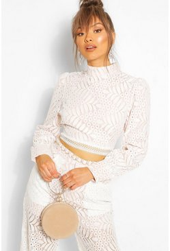 Ivory Lace High Neck Longsleeve Crop Top