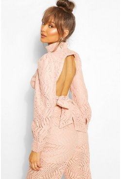 Pink Lace High Neck Longsleeve Crop Top