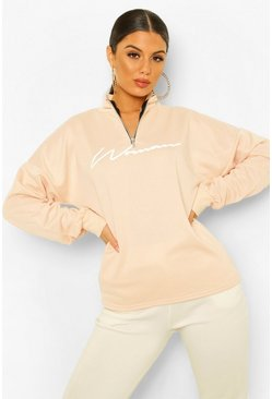 Nude Woman Slogan Rib Neck Zip Sweatshirt