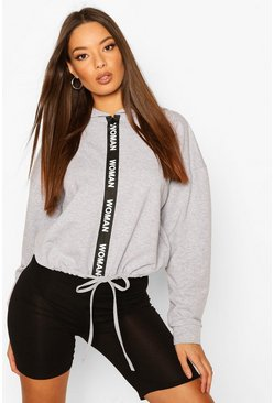 Grey marl Oversized Taping Zip Up Drawstring Hoodie