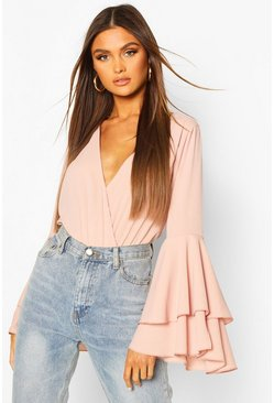 Blush Woven Wrap Flared Sleeve Bodysuit