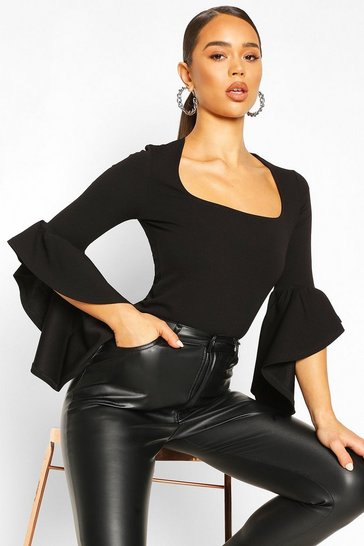 Black Crepe Flared Sleeve Square Neck Top