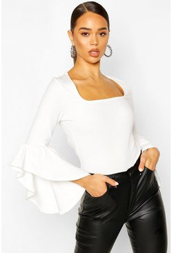Ivory Crepe Flared Sleeve Square Neck Top