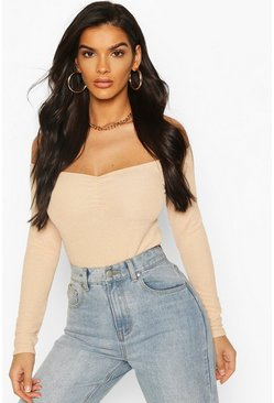 Camel Textured Off The Shoulder Bodysuit
