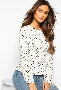 White Woven Polka Dot Seam Detail Blouse