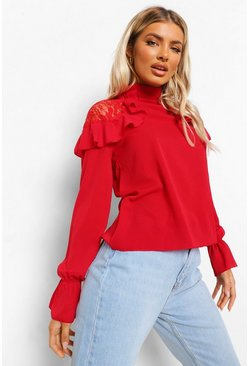 Red Woven Ruffle Lace Detail Blouse