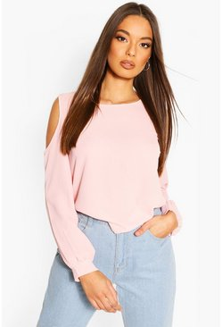 Blush Cold Shoulder Woven Top