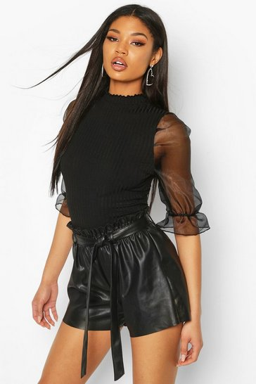 Black Ribbed High Neck Organza Sleeve Bodysuit