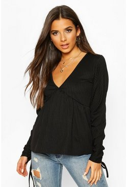 Black Ribbed Ruched V-Neck Smock Top