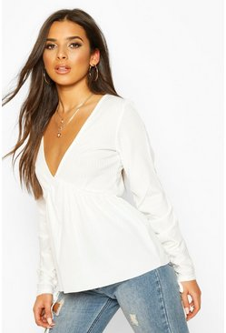 Ivory Ribbed Ruched V-Neck Smock Top