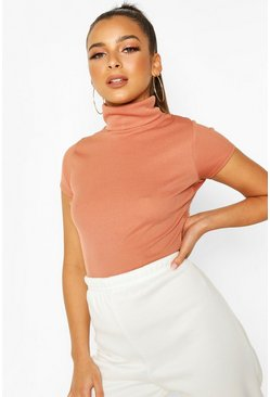 Blush Rib Roll Neck Cap Sleeve Top