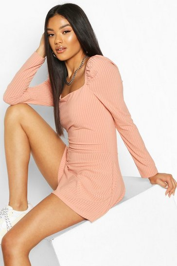 Apricot Puff Sleeve Square Neck Ribbed Playsuit