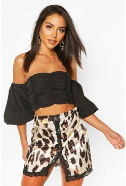 Tan Leopard lace Trim Satin Mini Skirt