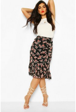 Black Floral Ruched Front Hem Midi Skirt
