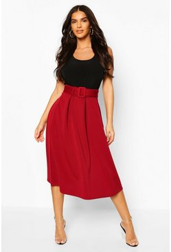 Berry Self Fabric Belted Pleat Midi Skirt