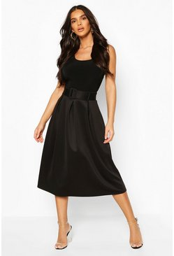 Black Self Fabric Belted Pleat Midi Skirt
