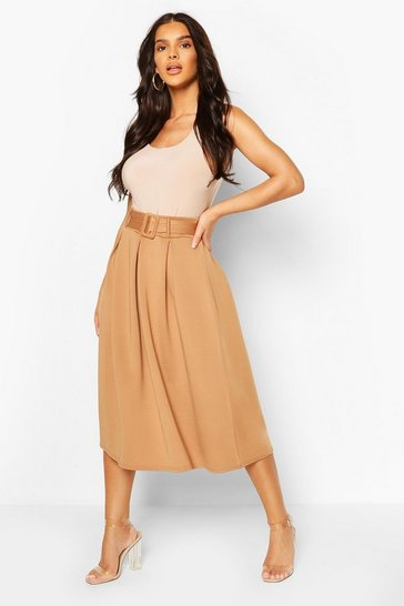 Camel Self Fabric Belted Pleat Midi Skirt