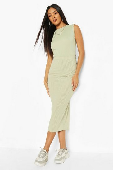 Sage Basic Ribbed Midaxi Skirt