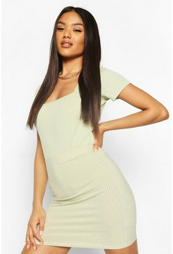 Sage Basic Ribbed Mini Skirt