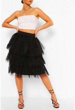 Black Layered Tulle Longer Length Skirt