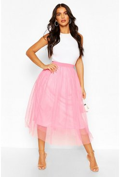 Baby pink Tulle Longer Length Midi Skirt