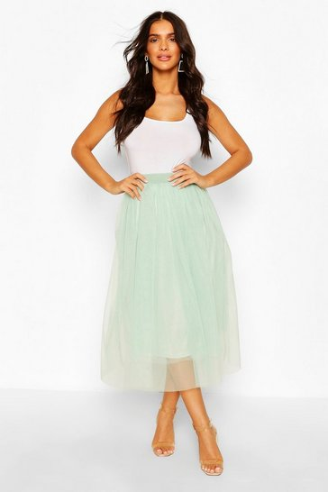 Sage Tulle Longer Length Midi Skirt