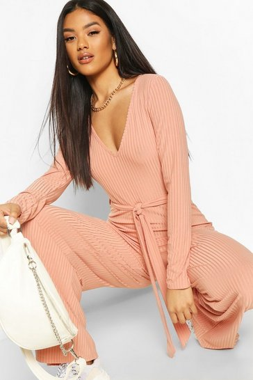 Apricot Ribbed Long Sleeve Tie Waist Jumpsuit