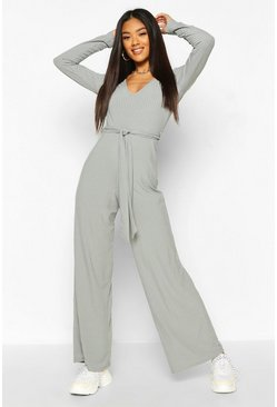 Duck egg Ribbed Long Sleeve Tie Waist Jumpsuit