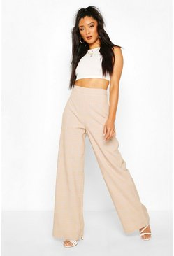 Sand Tonal Check Wide Leg Trouser