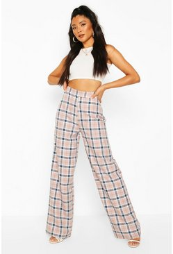Pink Pastel Check Wide Leg Trousers