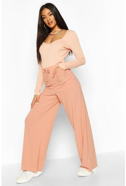 Apricot Pocket Front Ribbed Wide Leg Trousers