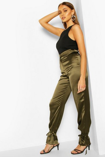 Khaki Tie Ankle Satin Luxe Trousers