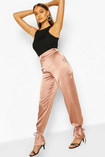 Mauve Tie Ankle Satin Luxe Trousers