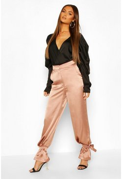 Mauve Tie Ankle Satin Luxe Pants