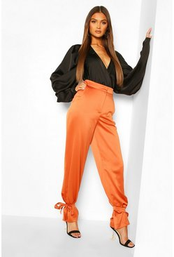 Terracotta Tie Ankle Satin Luxe Pants