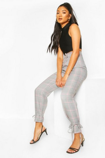 Black Pastel Check Tie Ankle Trousers