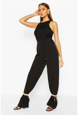 Black Tie Ankle Contrast Slim Leg Trousers
