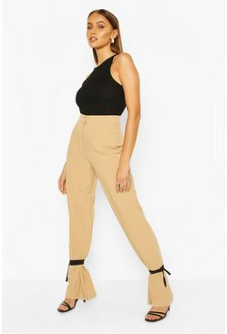 Sand Tie Ankle Contrast Slim Leg Trousers