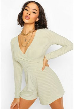 Sage Ribbed Wrap Front Playsuit