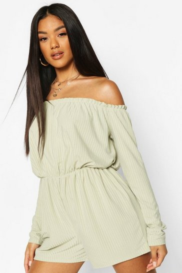 Sage Ribbed Bardot Playsuit