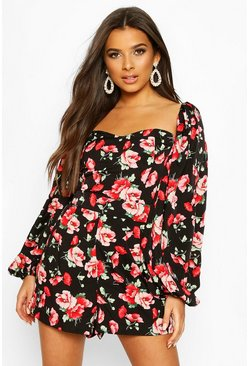 Black Floral Print Knot Front Balloon Sleeve