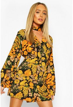Black Floral Wrap Front Open Back Playsuit