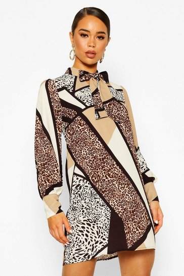 Stone Mix Animal Print Pussy Bow Shift Dress