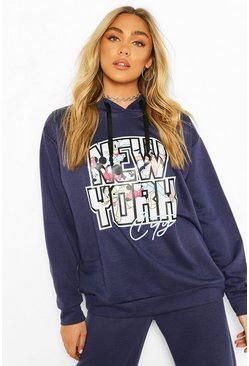 Navy Disney Mickey & Friends NYC Oversized Hoodie