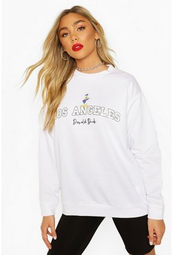 White Disney Donald Duck Los Angeles Sweater
