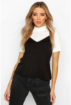 Black High Neck 2-In-1 Cami Top